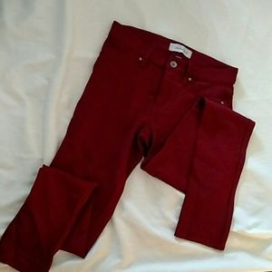 Calvin Klein 2 Cranberry Skinny Leggings Pants